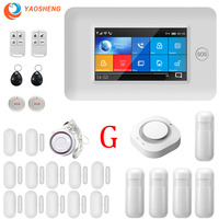 Wireless Wifi GSM 433mhz 4.3inch Full touch color screen Smart home security Alarm system APP Remote control