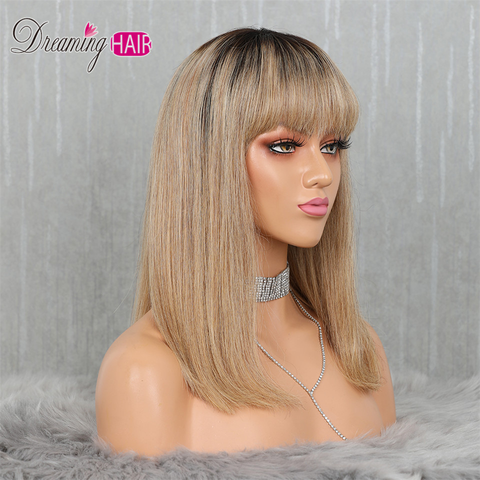 H4b40158888fd45d48d71633357b22bbdR 613 Short Cut 13X4 Bob Lace Front Human Hair Wig with Bangs Honey Blonde Color Transparent Lace Front Wigs For White Woman