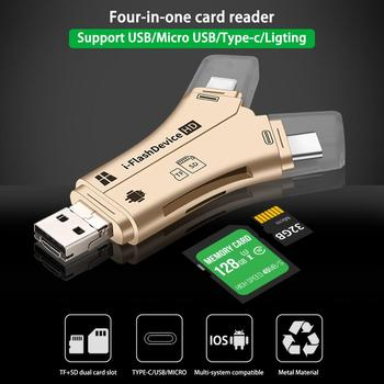Orginal 4 in 1 i Flash Drive USB Card Reader for Micro Memory Card Reader Adapter for iPhone for iPad Macbook Android Camera