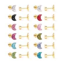 12pairs/Lot Wholesale Cute Moon Stainless Steel Screw Stud Earrings For Women Girls Kids Piercing Jewelry kolczyki srebrne Aros
