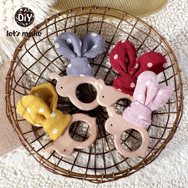 Let's Make Wooden Teether Rodent Childen's Goods Bunny Ear 5pcs Bee Beech Cotton Cartoon Animal Food Grade Baby Teething Toys
