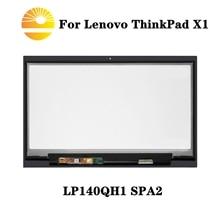 Para lenovo x1 carbono lp140qh1 spa2 lcd assembléia digitador da tela de toque com moldura quadro lp140qh1 (sp) (a2) substituição