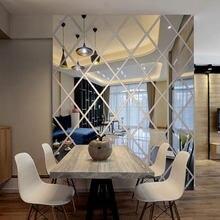 Diamenty 3D naklejki na lusterka akrylowe trójkąty samoprzylepne DIY ściana naklejki na lusterka do salonu wystrój sztuka dla domu 17/32/58 sztuk