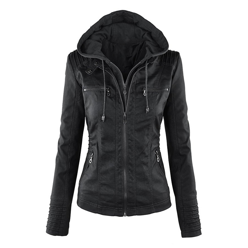 Gothic faux leather Jacket Women hoodies Winter Autumn Motorcycle Jacket Black Outerwear faux leather PU Jacket 2019 Coat HOT