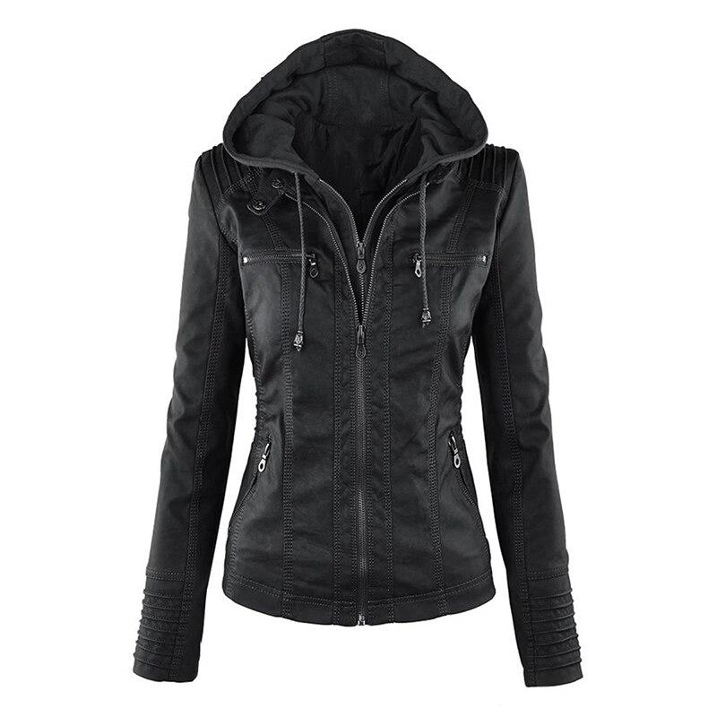 Gothique simili cuir veste sweat à capuche pour femme hiver automne moto veste noir survêtement faux cuir veste en cuir synthétique polyuréthane 2019 manteau chaud