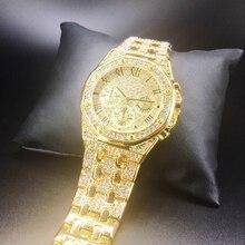 Hip hop relógios masculinos topo da marca de luxo iced para fora relógio de quartzo homem diamantes ouro à prova ddropágua reloj hombre dropshipping novo 2020 presente