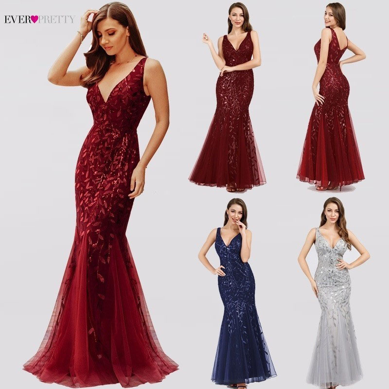 Ever Pretty Sexy Evening Dresses V-Neck Sequined Side Split EP00910NB Elegant Formal Gowns Little Mermaid Dresses Abendkleider