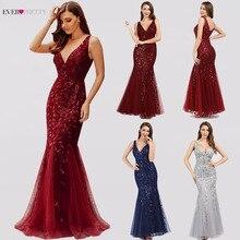 Ever Pretty vestidos de noche con cuello en V y lentejuelas laterales, elegantes vestidos formales de sirena, Abendkleider, EP00910NB