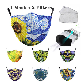 Adult Cute sunflower Printed Face Mask 2-layer Protective Dust-Proof Anti-Fog Haze Reusable Mouth Cover Can Put Filter Mask image