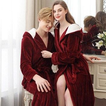 Otoño Invierno Extra largo con capucha franela pareja camisón señoras más fertilizante de talla grande Coral Velvet Albornoz para hombre camisón