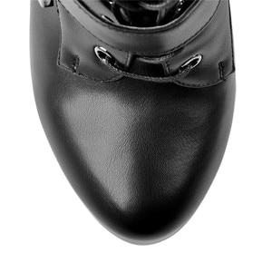 Image 5 - Onlymaker frauen Stiefeletten Schuhe 15 ~ 16cm Hohe Dünne Ferse 4cm Plattform Mode Heels Stiefel Metall platten Schnalle Stiefel Stilettos