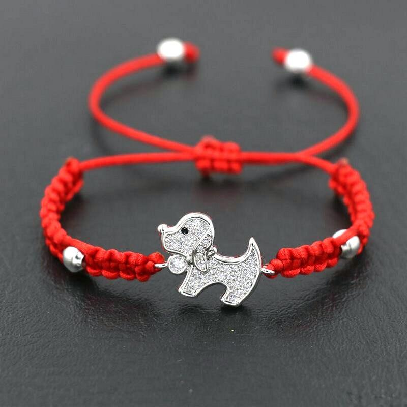 Прекрасный Lucky инкрустация цирконием Стразы с колесиками для собаки браслет для мальчиков и девочек, Красная Нить веревка шнур браслеты для...