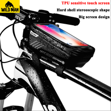 WILD MAN Waterproof MTB Bike Bag Front Frame Top Tube Bicycle Touch Screen Phone Case Anti Pressure Cycling Accessories
