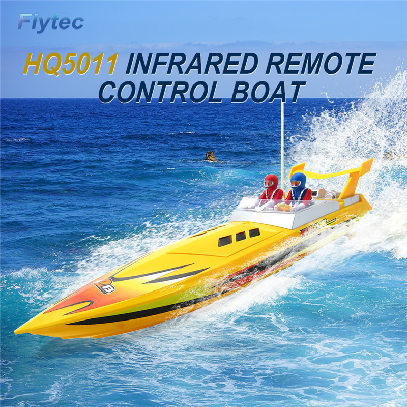 Flytec HQ5011 4CH 34CM Infrared 27MHZ 40MHZ RC Boat 15KM/H Without Battery RTR Toys For Kids Gift Yellow & Red
