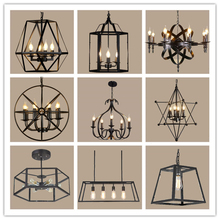 American Style Retro Decor Chandelier Lighting Nordic Loft Ceiling Light Living Room Bedroom Wrought Iron Lamp Body Hanging