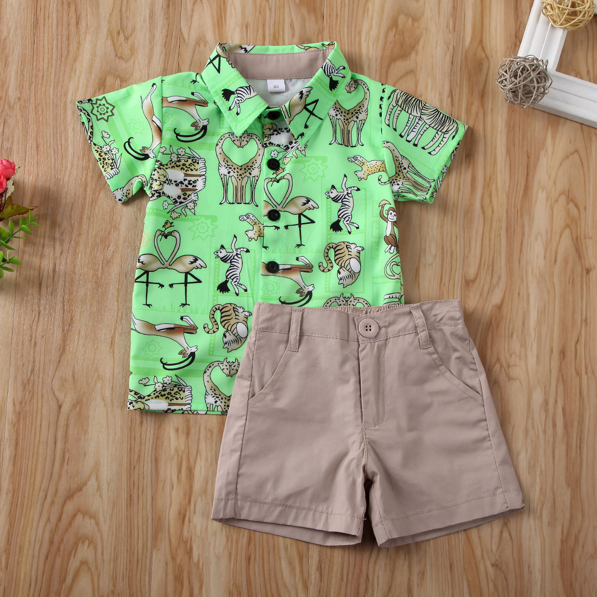 Pudcoco Toddler Baby Boy Clothes Cartoon Animals Print Short Sleeve Shirt Tops Short Pants 2Pcs Outfits Clothes