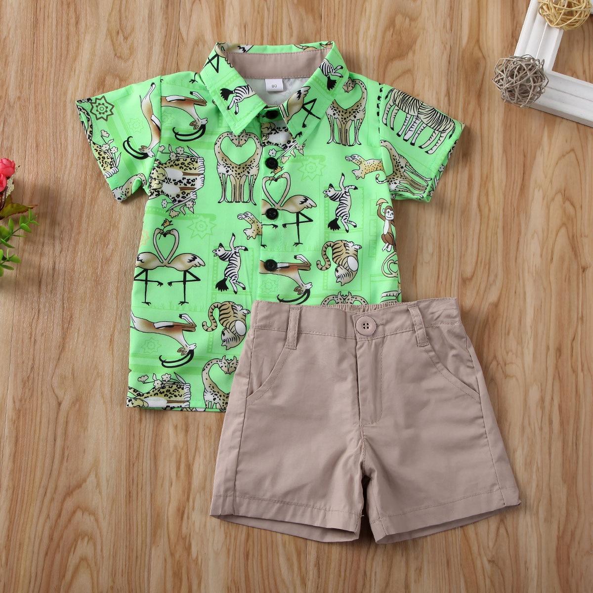 Pudcoco Toddler Baby Boy Clothes Cartoon Animals Print Short Sleeve Shirt Tops Short Pants 2Pcs Outfits Clothes