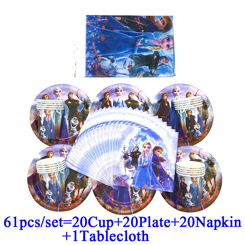 Disney Frozen Birthday Party Supplies 2 Plates 1 Napkins  /& 1 Tablecover Lot 4