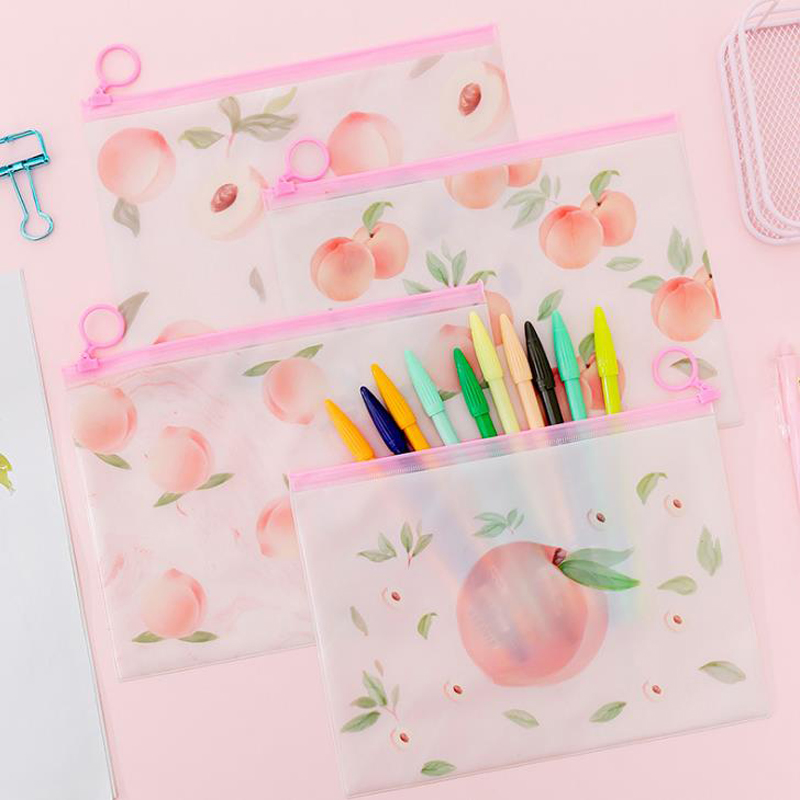 1 Pcs Lovely Fruit Pink Peach Transparent PVC Document Bags File Folder Zipper Storage Organizer School Office Stationery Gift