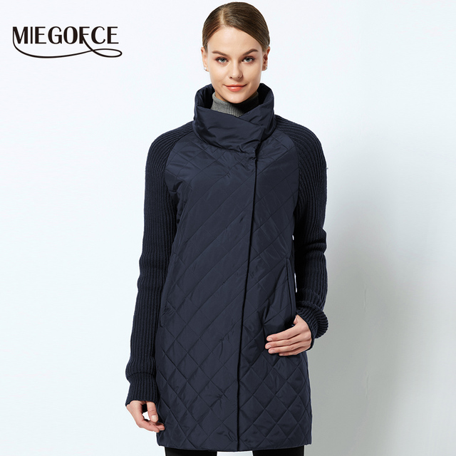 MIEGOFCE 2019 Spring Autumn Women Jacket With a Collar Knitted Sleeve Warm Jacket New Collection of Designer Womens Parka Coat