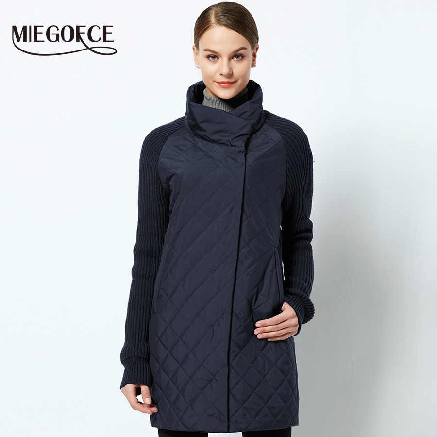 MIEGOFCE 2019 yay sonbahar kadın ceket ile yaka örme kollu sıcak ceket yeni koleksiyonu tasarımcı kadın parka ceket