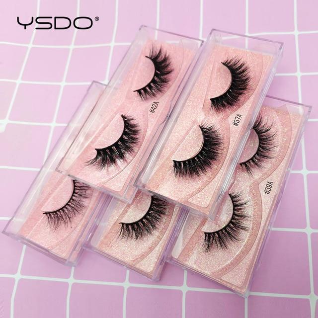 YSDO 1 Pair 3D Mink Eyelashes Fluffy Dramatic Eyelashes Makeup Wispy Mink Lashes Natural Long False Eyelashes Thick Fake Lashes 5