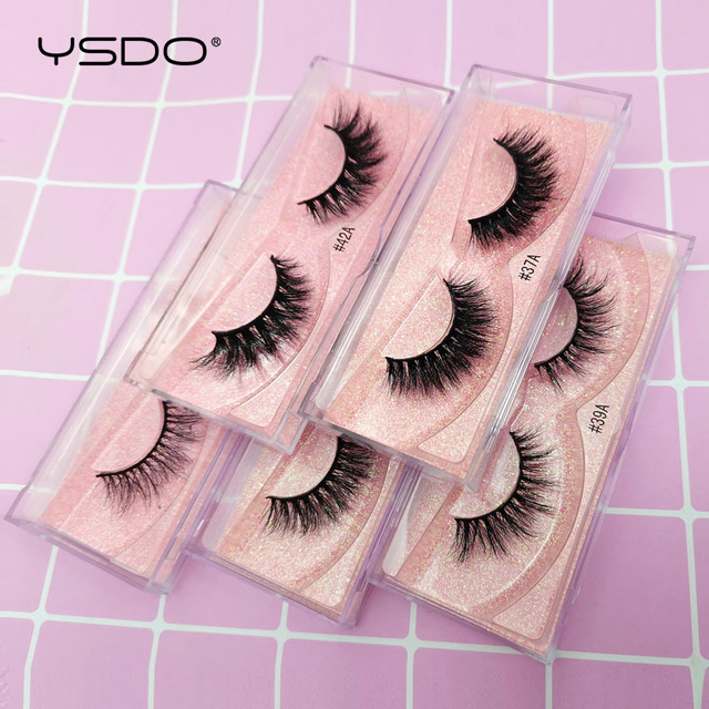 YSDO 1 Pair 3D Mink Eyelashes Fluffy Dramatic Eyelashes Makeup Wispy Mink Lashes Natural Long False Eyelashes Thick Fake Lashes 4