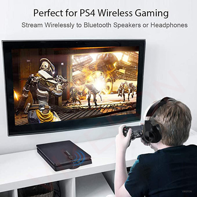 Bluetooth Headphone + USB Transmitter for TV PC PS4 Aptx LL Wireless Earphone Over-ear Noise HiFi Stereo Gaming Headset with Mic