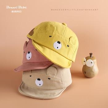 цена на hat  2020 Spring  Pure Cotton Soft Eaves Cartoon Bear Men And Women Baby Baseball Cap Children Brim cap