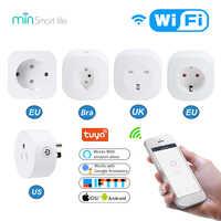 Min Tuya Electrical Wifi Smart Socket US EU Outlet Plug 16A Power App Remote Control Smart Home Works With Amazon Alexa Google