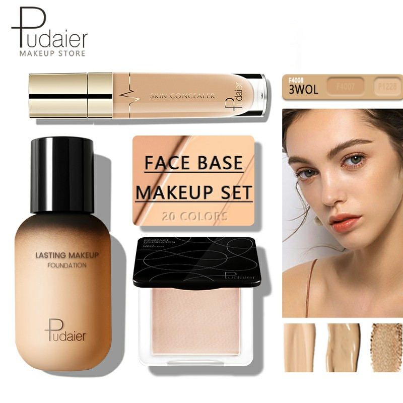 Pudaier Face Foundation Makeup Set Liquid Foundation Cream Matte Foundation Base Face ALL Concealer Cosmetic Professional Base