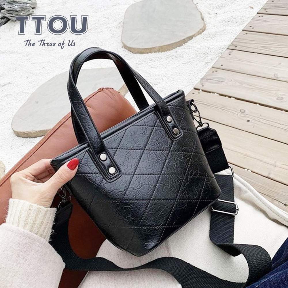 Solid Color Small Flap Women Handbag Vintage PU Leather Crossbody Female Bucket Bag Ladies Travel  Shopping Shoulder Totes Bag
