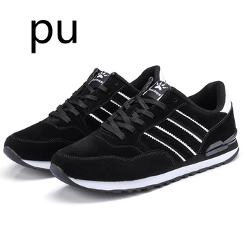 2020 artificial Leather Men Causal Shoes Male Spring Men Casual Light Shoes Sneakers Lac-up Flats Breathable Outdoors Sapato - PUBlack, 38