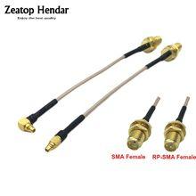 1 pces mmcx ângulo/striaght macho para sma/RP-SMA fêmea antena linear flange cabo para pfv rc peças 5.8ghz 10cm 15cm 20cm 30cm