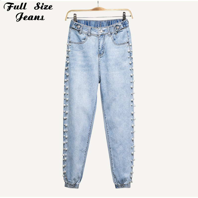 Plus Size Pearl Beaded Ankle Length Jogger Jeans 3Xl 4Xl Spring Summer Chi Lady Elastic Waist Loose Capris Jean Denim Pants