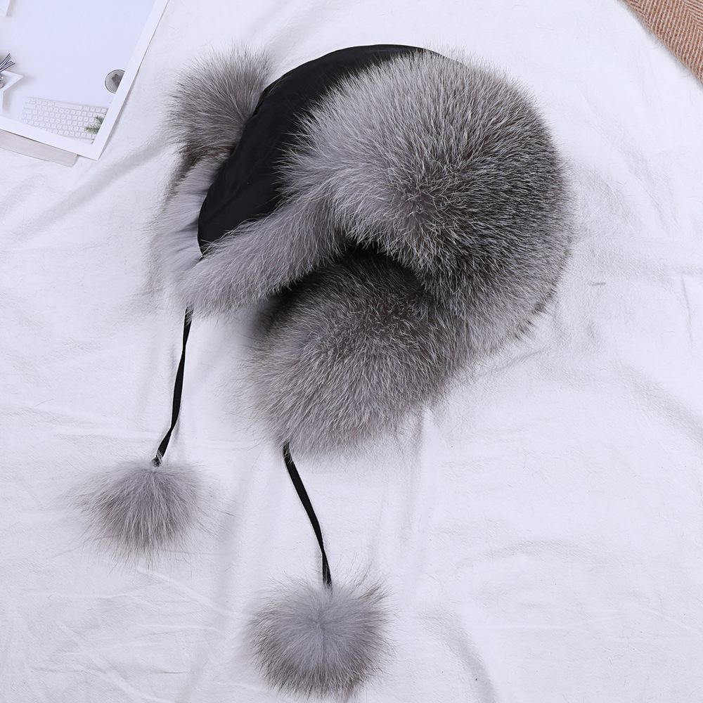 Fur Hat For Women Natural Raccoon Fox Fur Russian Ushanka Hats Winter Thick Warm Ears Fashion Aviator Trapper Bomber Snow Cap