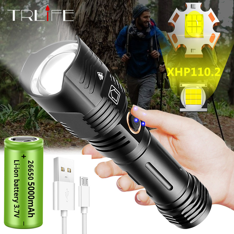 Newest 9 Cores XHP110.2 Super Bright LED Flashlight Waterproof Tactical Flashlight Powered by 5000mAh 26650 Battery XHP70 Torch
