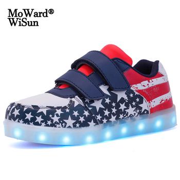 Rozmiar 25-35 dziecięce buty LED ze światłami USB ładowanie świecące trampki dla dzieci chłopcy dziewczęta świecące buty z podświetleniem podeszwa tanie i dobre opinie moward wisun 3-6y 7-12y 12 + y CN (pochodzenie) Wiosna i jesień Unisex Dobrze pasuje do rozmiaru wybierz swój normalny rozmiar