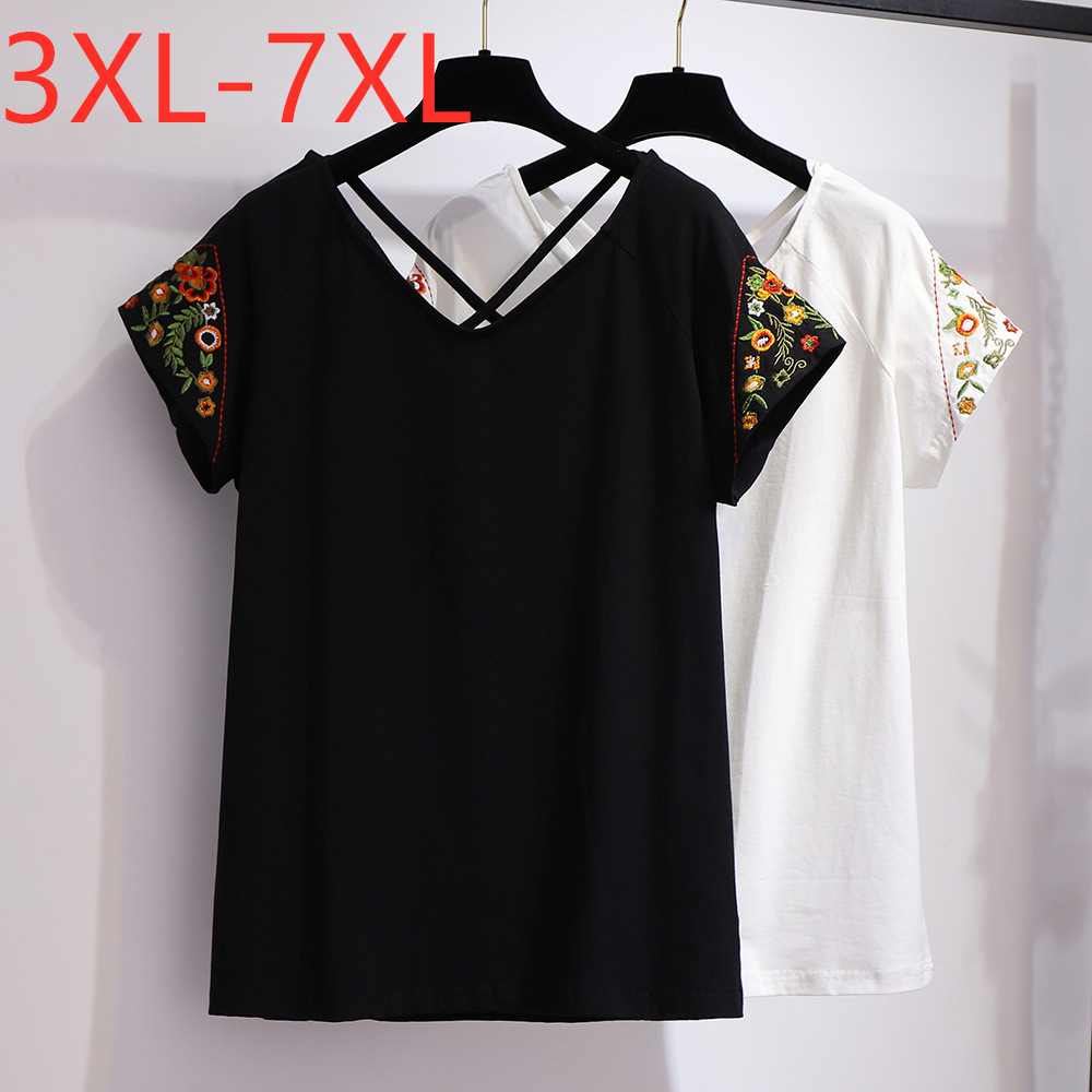 New 2020 Summer Plus Size Tops For Women Large Loose Short Sleeve Black White Cotton V Neck Embroidery T-shirt 4XL 5XL 6XL 7XL