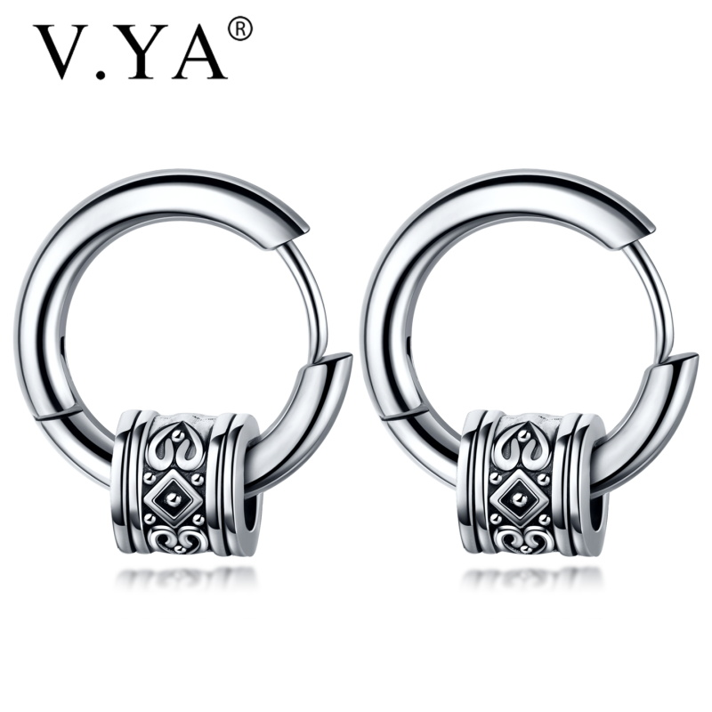 V.YA Cool Punk Men's Stainless Steel Hip Hop Stud Earrings Round Earring Pendant For Men Earings Jewelry Sliver Plated For Gifts