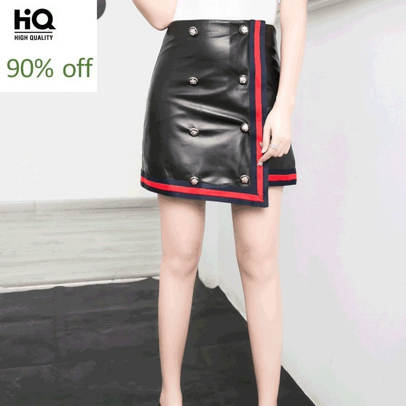 Office Ladies Slim Fit Bodycon Genuine Leather Mini Skirt Double Breasted Button A Line Women Striped High Waist Pencil Skirts