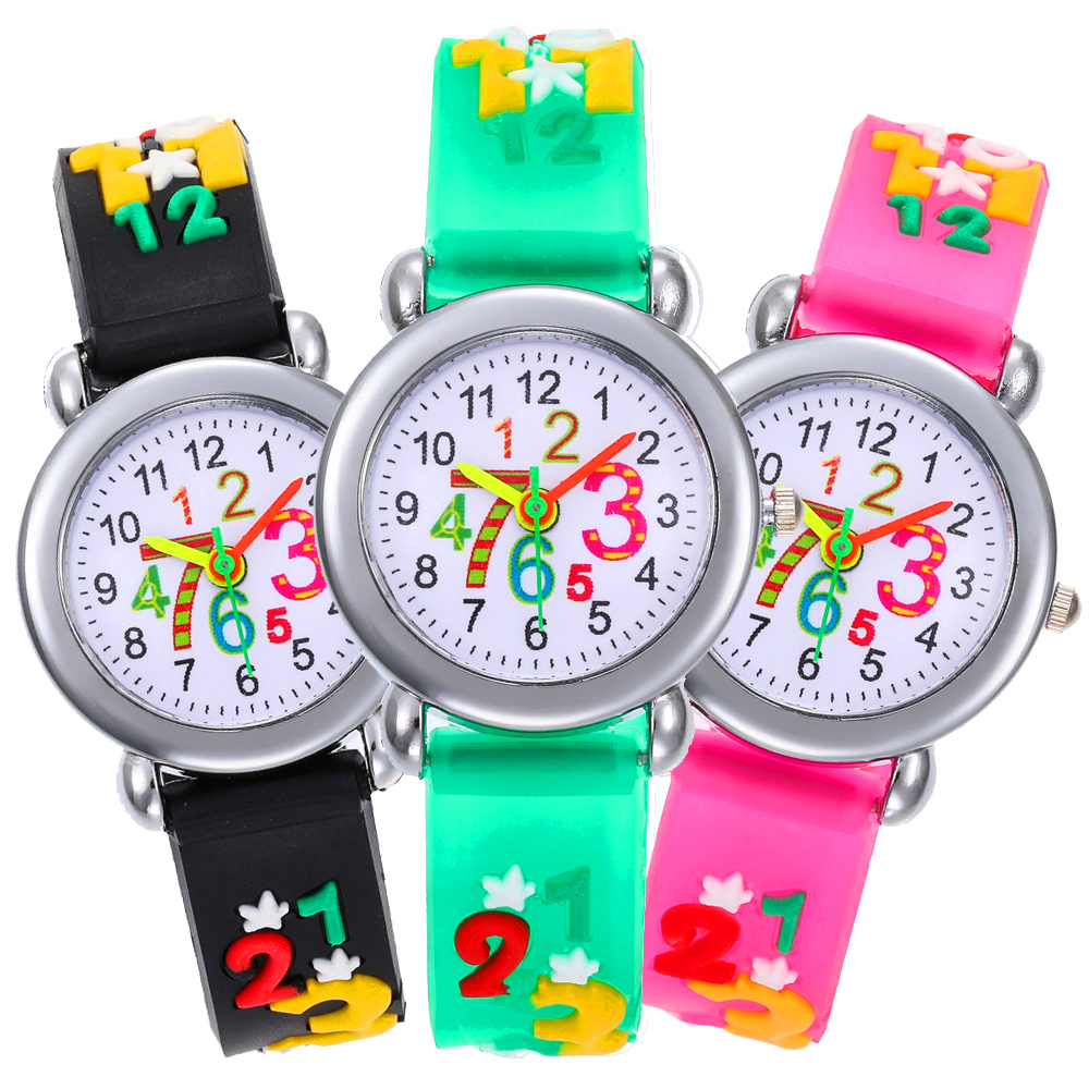 Child Baby Puzzle 1-9 Arabic Numbers Kid Digital Electronics Watch Children Waterproof Watch Girl Boy Clock Kids Quartz Watches