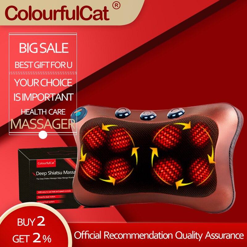 Электрическая массажная подушка, для дома и автомобиля, для массажа шеи, спины, поясницы и всего тела, многофункциональный массаж шиацу|massage pillow|massage neckmassage car | АлиЭкспресс