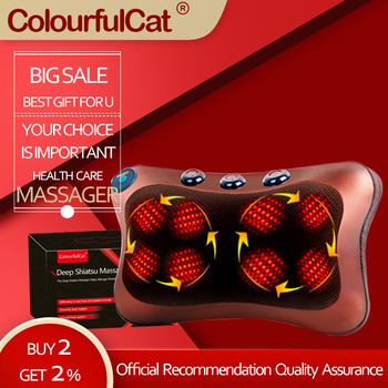 Neck Massager Car Home Cervical Shiatsu Massage Neck Back Waist Body Electric Multifunctional Massage Pillow Cushion car neck pillow electric massage pillow massager cushion relax neck back shoulder pillows with heating