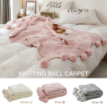 Nordic Style Air Conditioning Sofa Blanket Chenille Knitting Wool Ball Comfortable Soft Lunch Break 1pcs 20