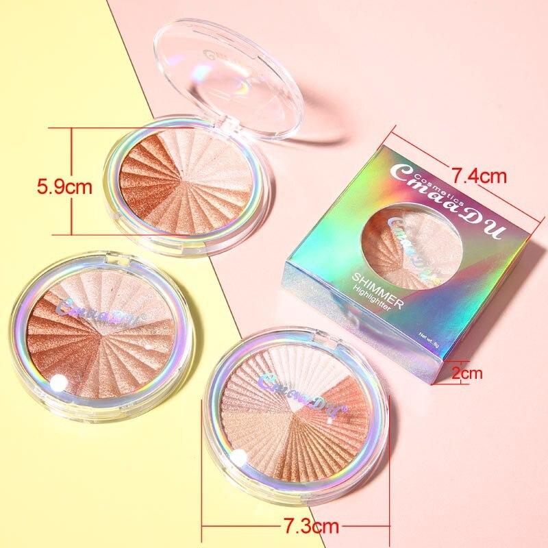 Highlighter Facial Palette Makeup Glow Kit Face Contour Shimmer Powder Base Illuminator Highlight Cosmetics Long Lasting TSLM1 5