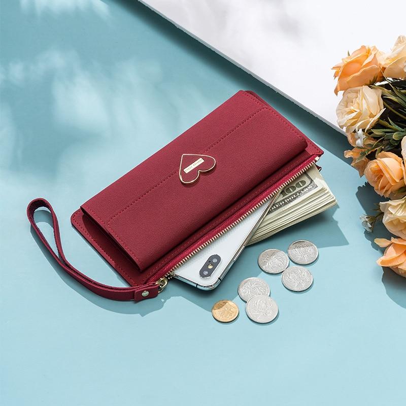 Women's Wallet Wristlet Clutch Zipper Phone Purse Card Holder Big Capacity Heart Hasp Long Wallets Bolsos Mujer De Marca Famosa