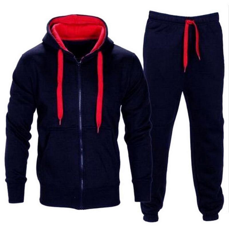 Tracksuit Men 2020 Autumn Sportwear Fashion Mens Set 2PC Zipper Hooded Sweatshirt Jacket+Pant Moleton Masculino Sets