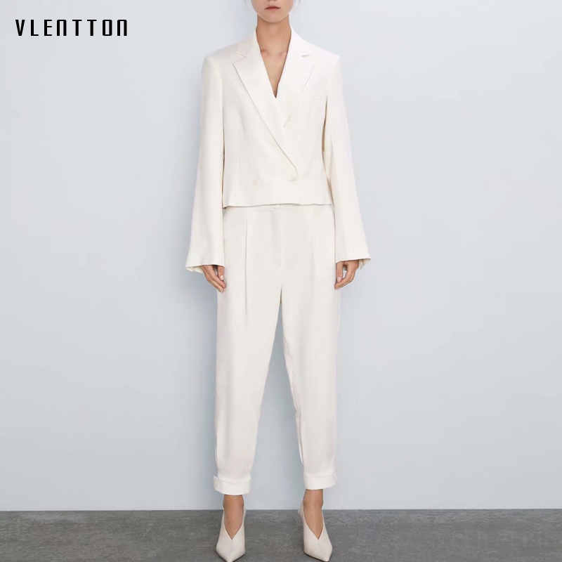 Autumn Elegant Office Lady Two Pieces Sets Women's Double Breasted Short Blazers Coat And Full Length Trousers Female Pants Suit