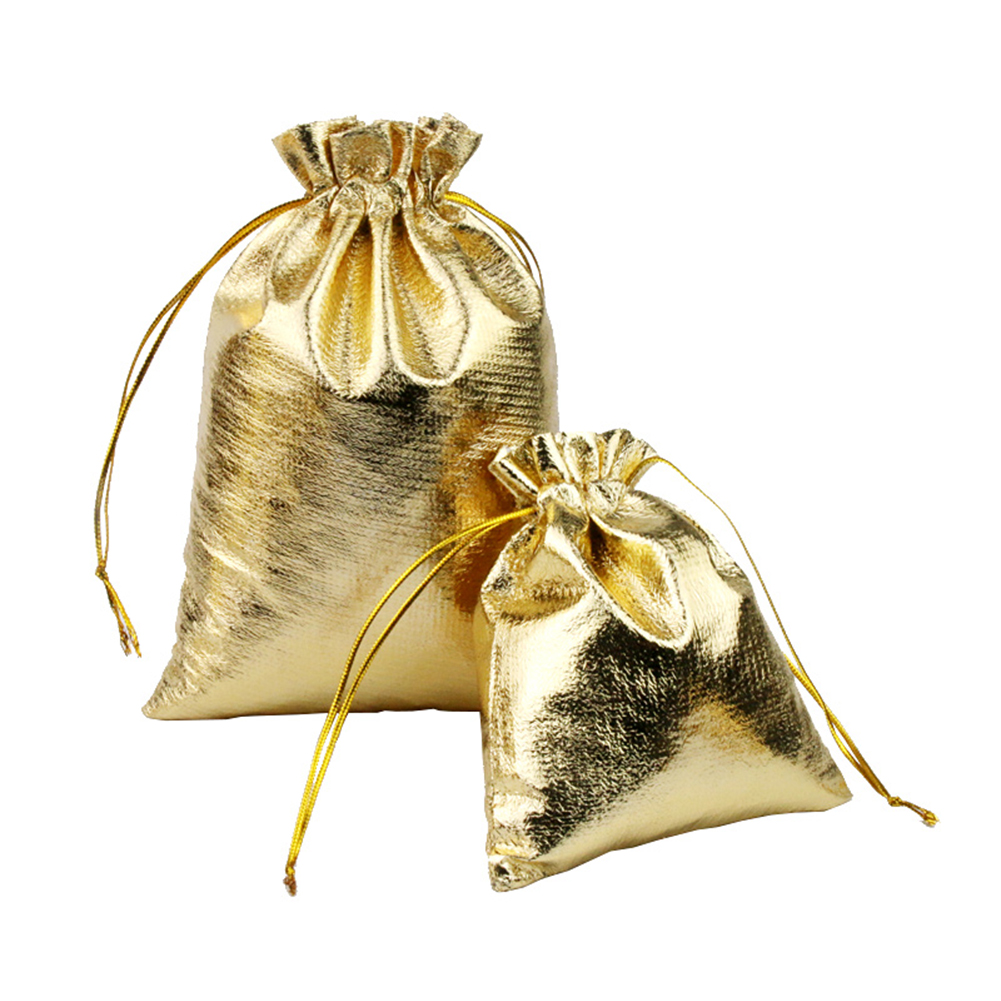100PCS Gold Drawstring Bags Organza Jewelry Pouches For Wedding Party Christmas Favor Gift Candy Chocolate Packing Bag Purse
